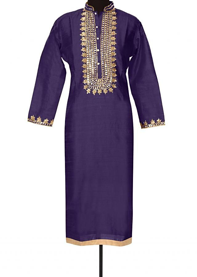 Purple kurti with zari and mirror placket only on Kalki