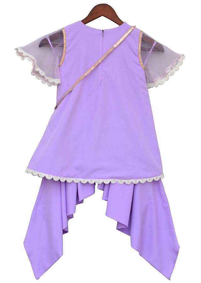 Purple Kurti In Net With Fancy Sleeve Matched With Dhoti Online - Kalki Fashion