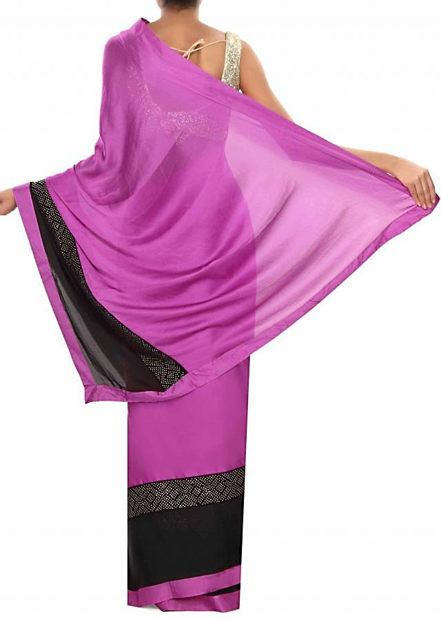 Purple pink saree embellished in kundan embroidery only on Kalki