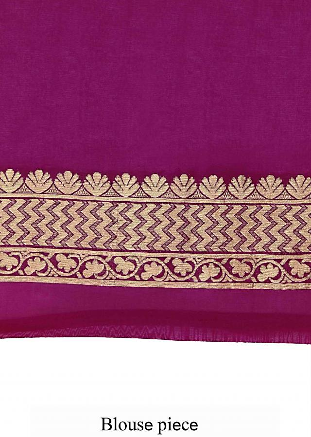 Purple saree enhanced in brocade only on Kalki