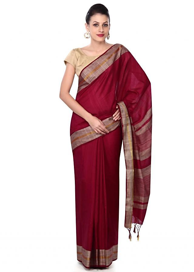 Purple saree in beige and gold contrast border only on Kalki