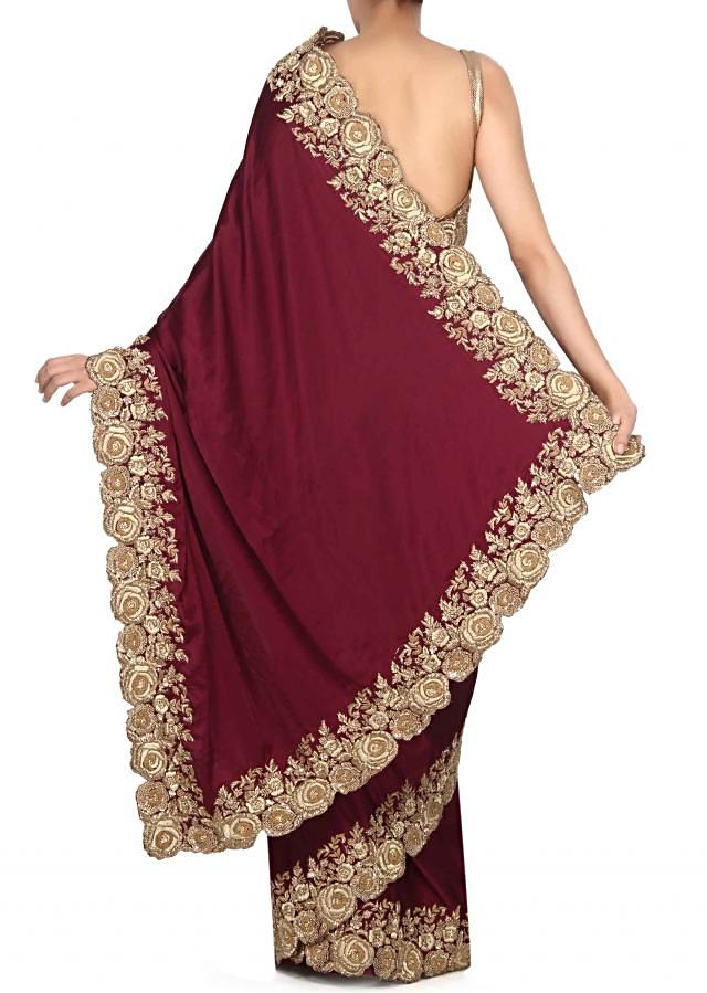 Purple saree with french knot embroidered border only on Kalki
