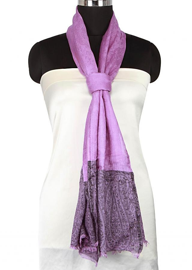 Purple scarf enhanced in paisley weave only on Kalki