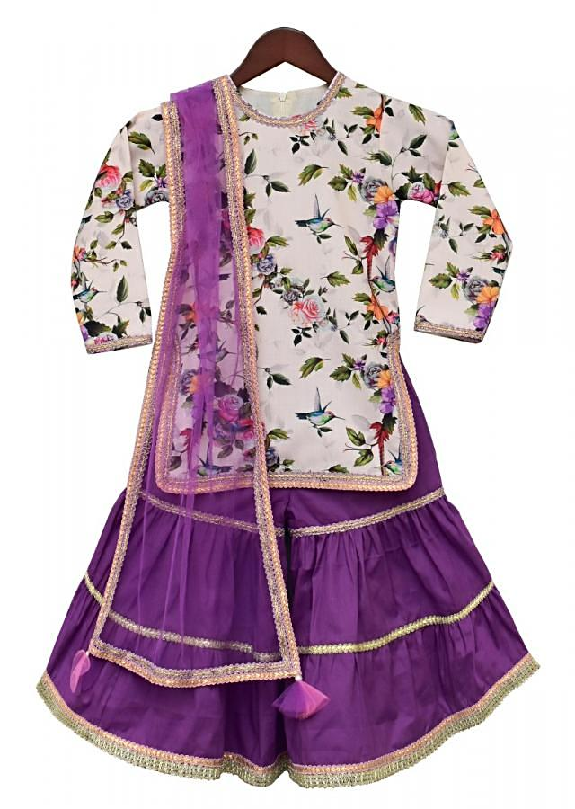 Purple Sharara Suit With Off White Floral Printed Kurta By Fayon Kids