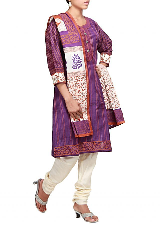 Purple straight fit suit featuring with resham and pin tucks only on Kalki
