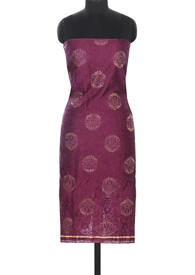 Purple unstitched suit in resham and zari embroidery only on Kalki