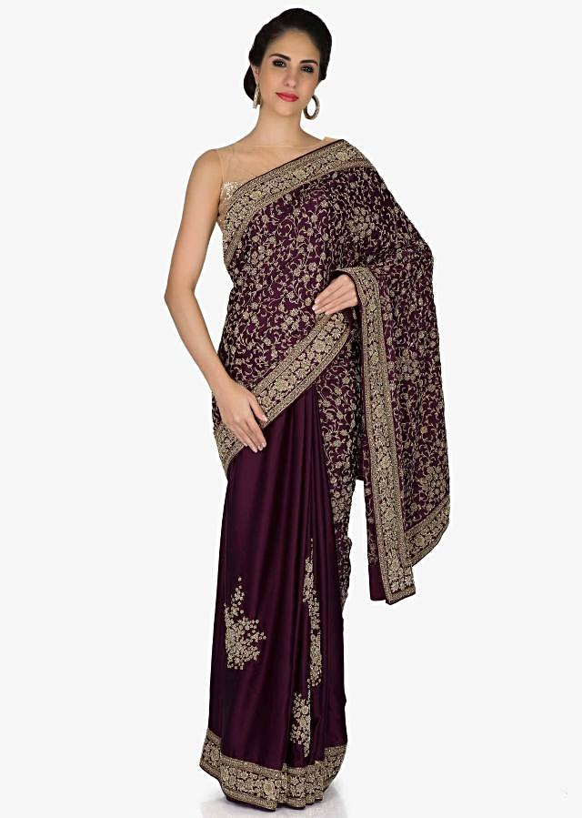 Purple Georgette Saree Adorned with Floral Motifs in Zardosi only on Kalki