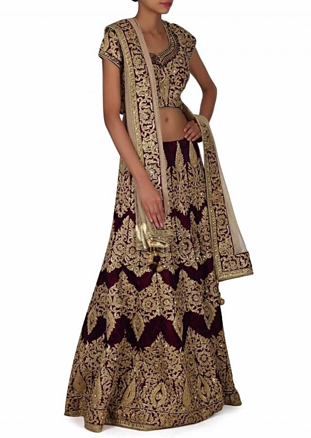 Purple Lehenga Choli With Resham And Kundan Work Online - Kalki Fashion
