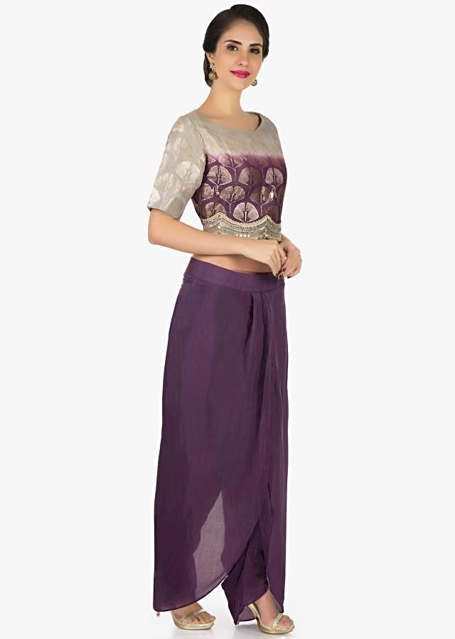 Purple grey shaded dhoti suit enhanced in mirror and cut dana work only on Kalki