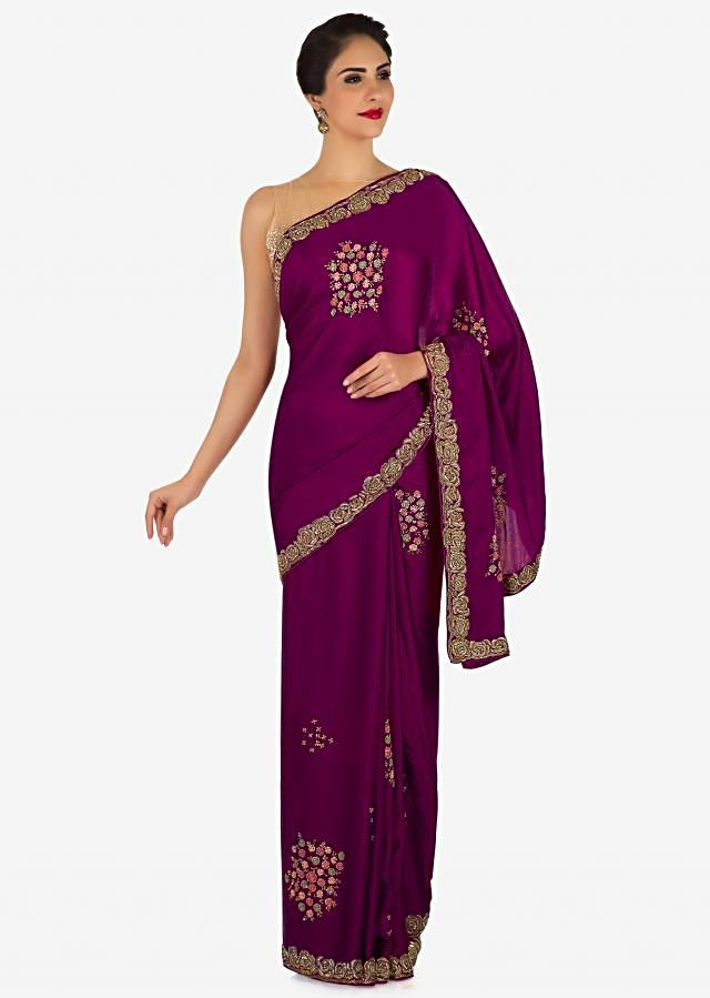 Purple saree in satin with floral embroidered butti and zardosi border only on Kalki