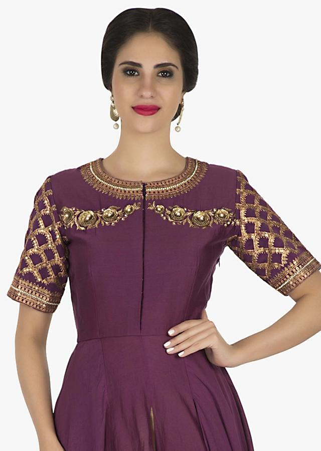 Purple Suit with twisted hem in silk featuring the sequin work only on Kalki