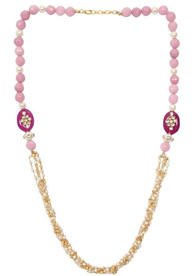 Purplish pink shaded beads with front ganthan only on Kalki