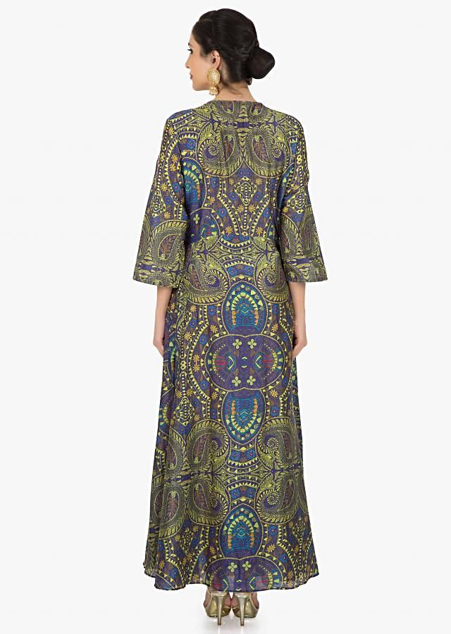 Purplish Blue long tunic in cotton with amazing print only on Kalki