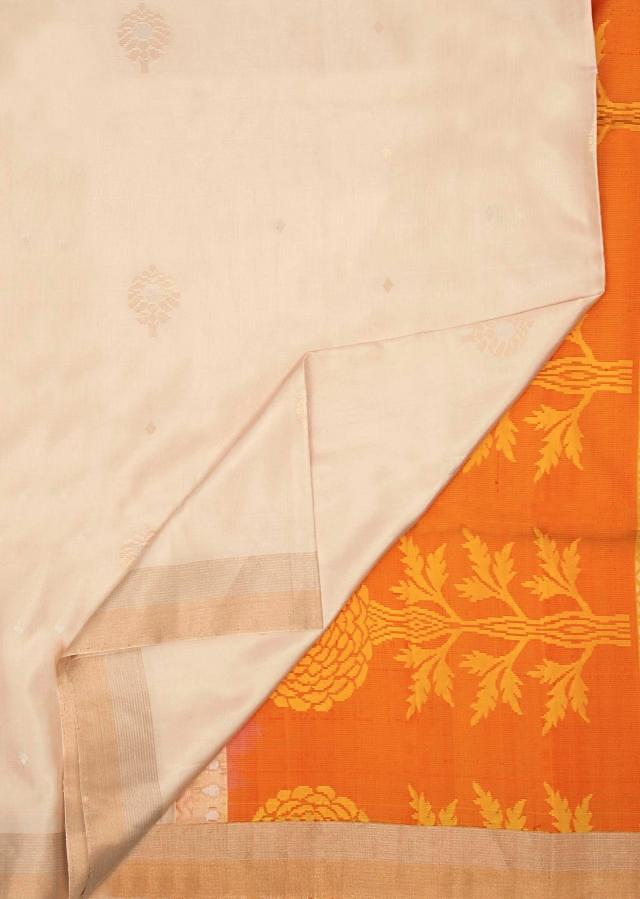 Radiant yellow and off white saree in silk only on Kalki