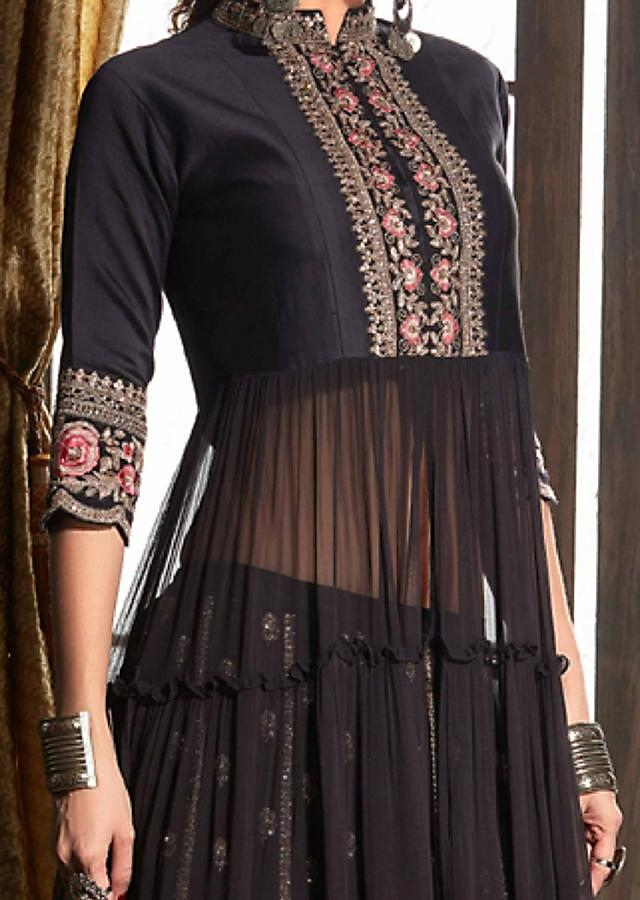 Raisin Purple Anarkali Suit With Lehenga Embroidered In Floral Pattern Online - Kalki Fashion
