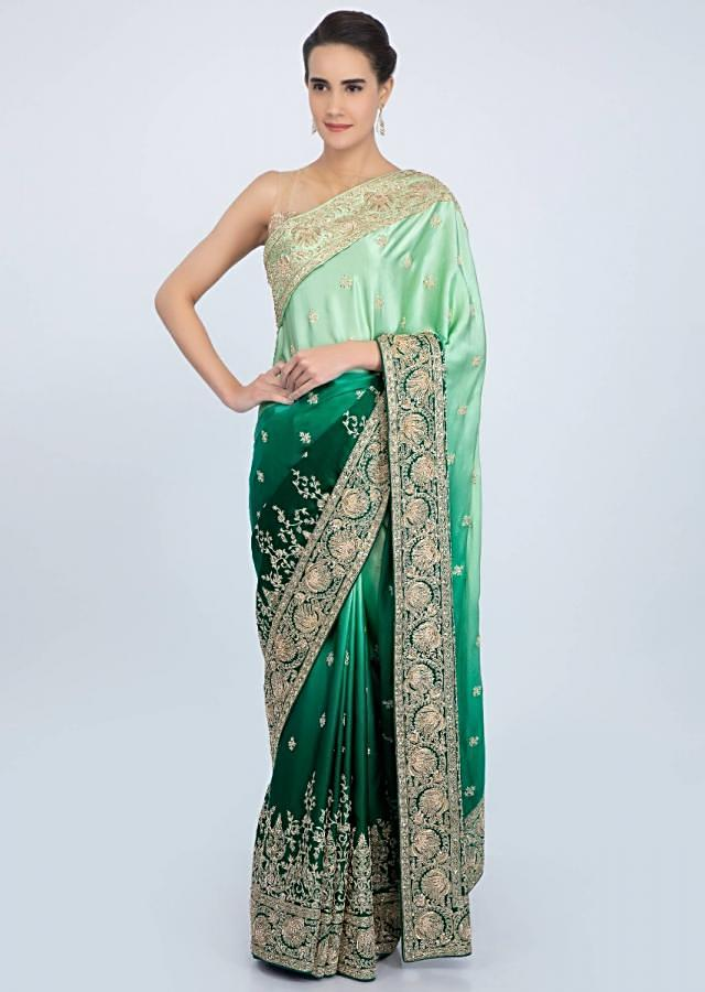 Rama green and pista green shaded satin saree with floral embroidered butti and border only on Kalki