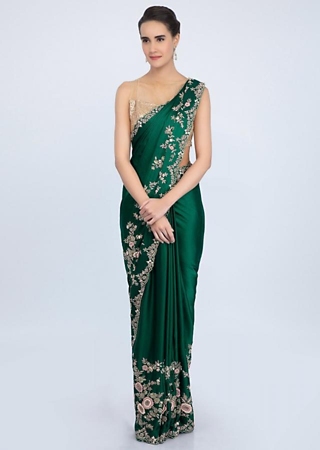 Rama Green Saree In Satin With Multi Color Floral Embroidered Border Online - Kalki Fashion
