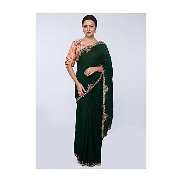 Rama green silk saree with floral embroidered  butti and border only on Kalki