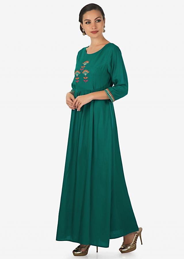 Rama green kurti in cotton with resham embroidered bodice and gathers only on Kalki