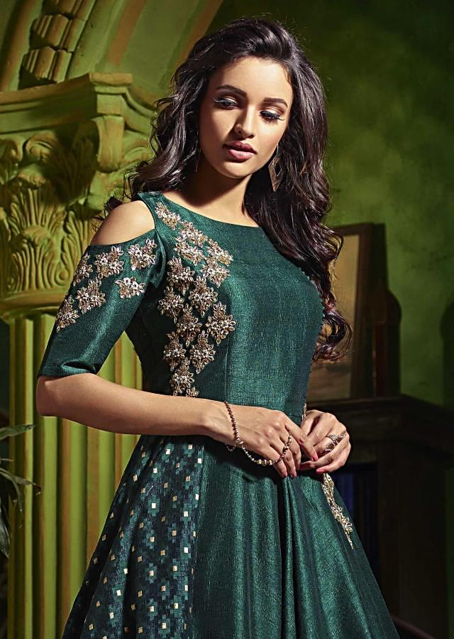 Rama green anarkali suit with embroidered armhole adorn in kundan