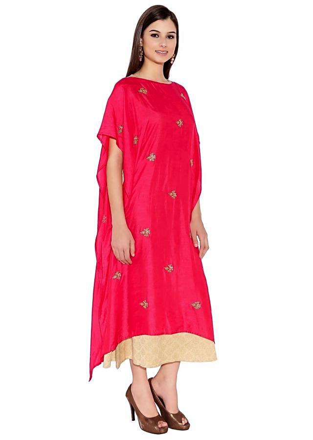 Rani Pink & Cotton Silk Kurti With Kaftan Style And Embroidered Butti And Brocade Lining Only On Kalki