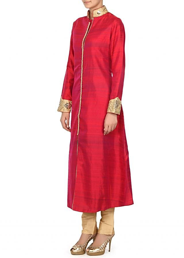 Rani pink A line suit features with embellished collar only on Kalki