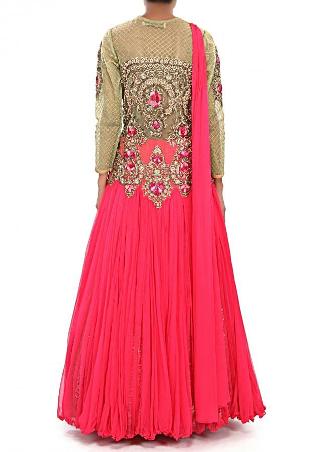 Rani pink anarkali is dress embellished in resham and kundan embroidery only on Kalki