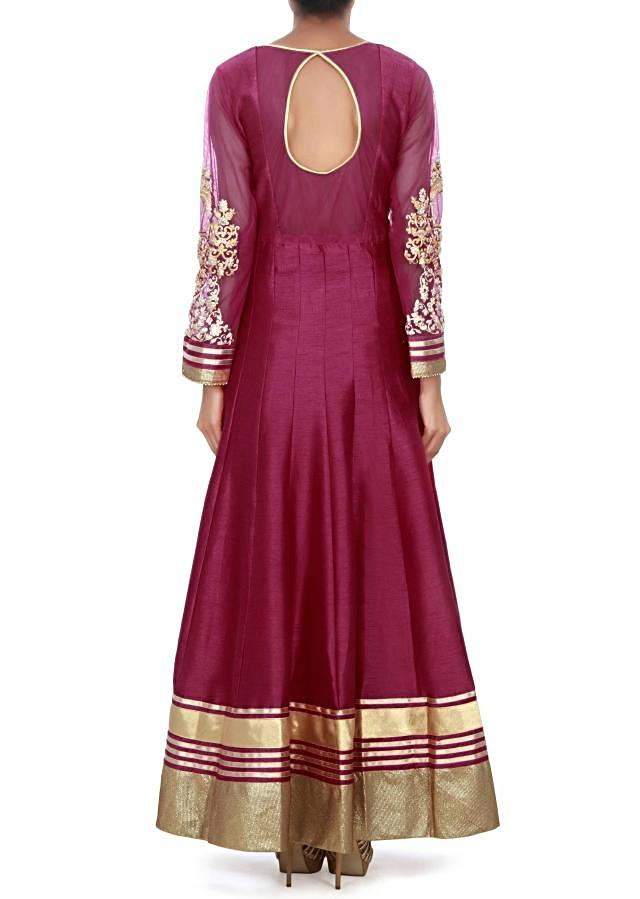 Rani pink anarkali suit adorn in mirror embroidery only on Kalki