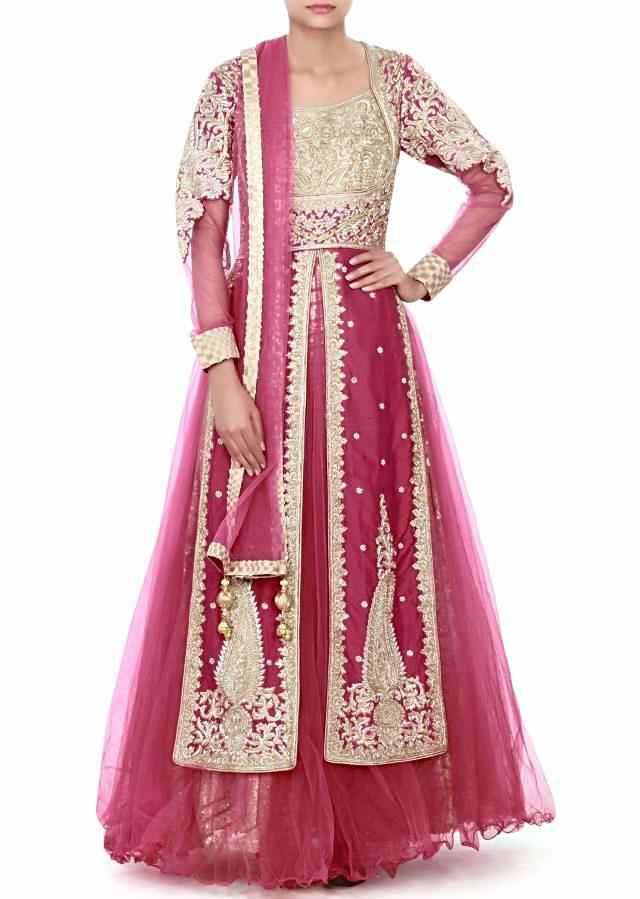 Rani pink anarkali suit adorn in zari embroidery only on Kalki