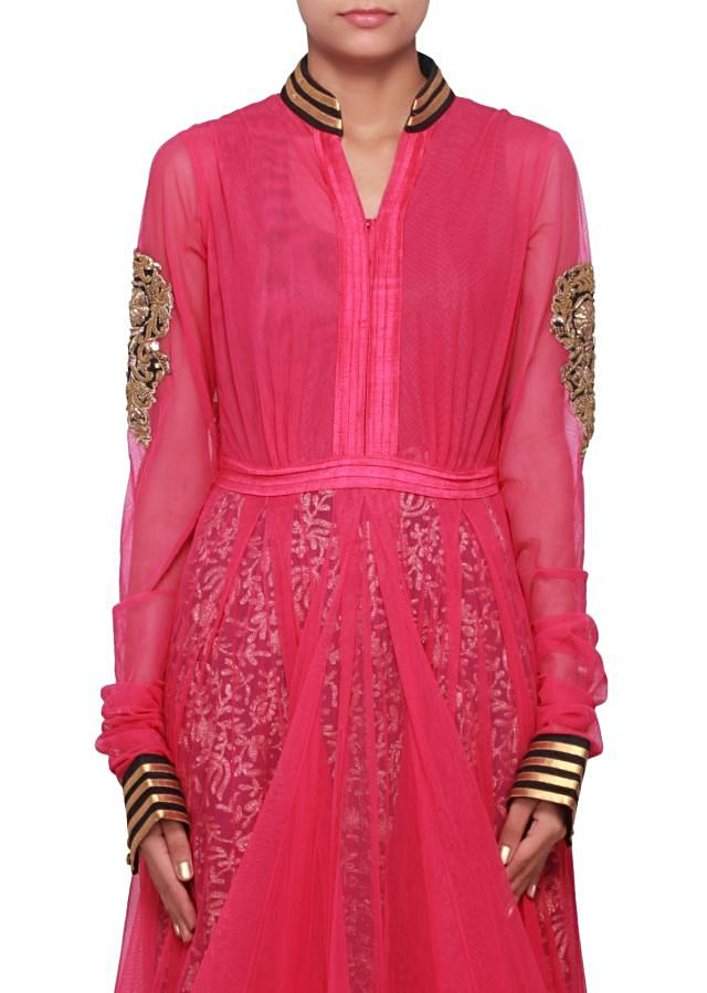 Rani pink anarkali suit embellished in zardosi work only on Kalki