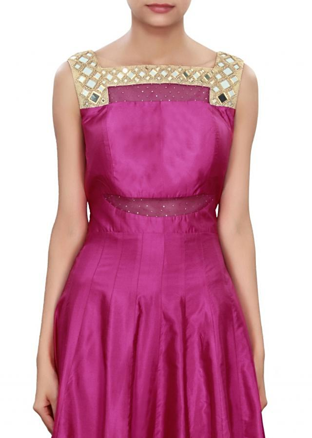 Rani pink anarkali suit enhanced in mirror embroidery only on Kalki