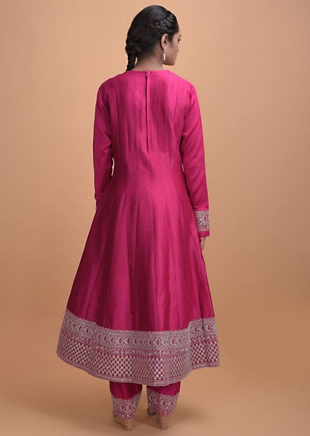 Rani Pink Anarkali Suit In Silk With Zari, Zardosi, Sequins And Kundan Online - Kalki Fashion