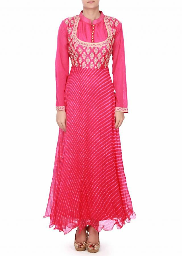Rani pink anarkali suit in zari bodice only on Kalki
