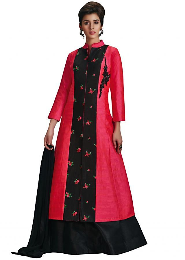 Rani pink and black palazzo suit in resham embroidered butti