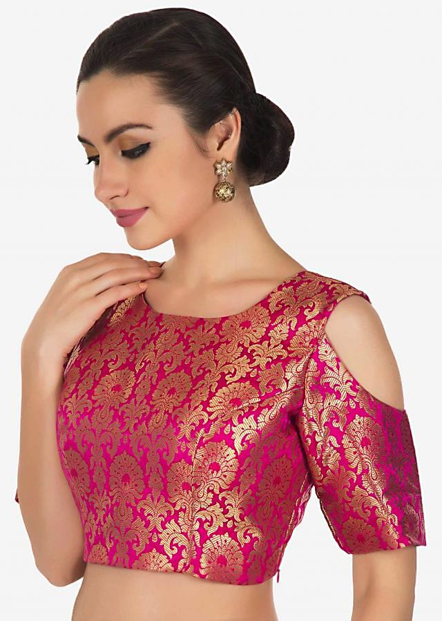 Rani pink and gold brocade blouse with cold shoulder only on Kalki