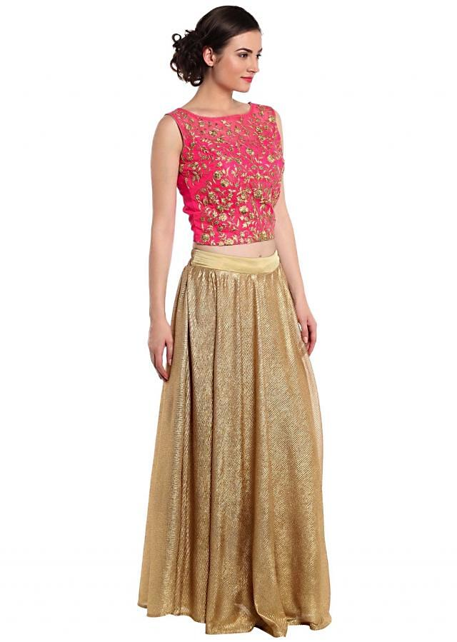 Rani pink crop top blouse in rani pink with gold shimmer skirt only on Kalki
