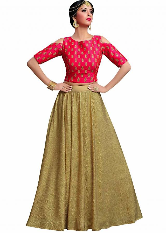 Rani pink blouse with gold shimmer skirt only on Kalki