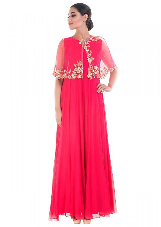 Rani Pink Cape Gown With Floral Embroidery Online - Kalki Fashion