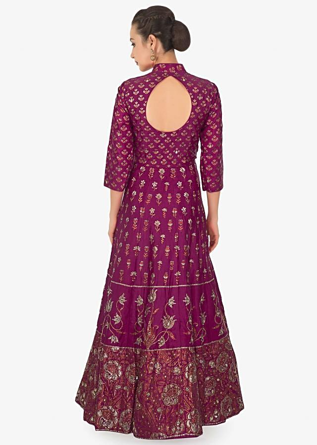 Rani pink floral print cotton anarkali embellished with sequin and cut dana only on kalki