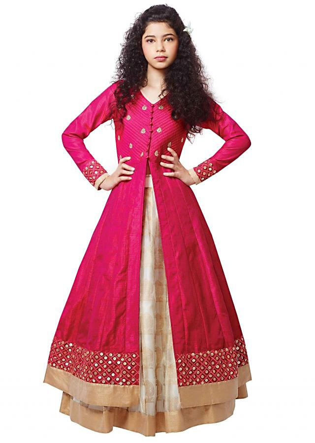 Rani pink jacket in sequin embroidery with cream lehenga