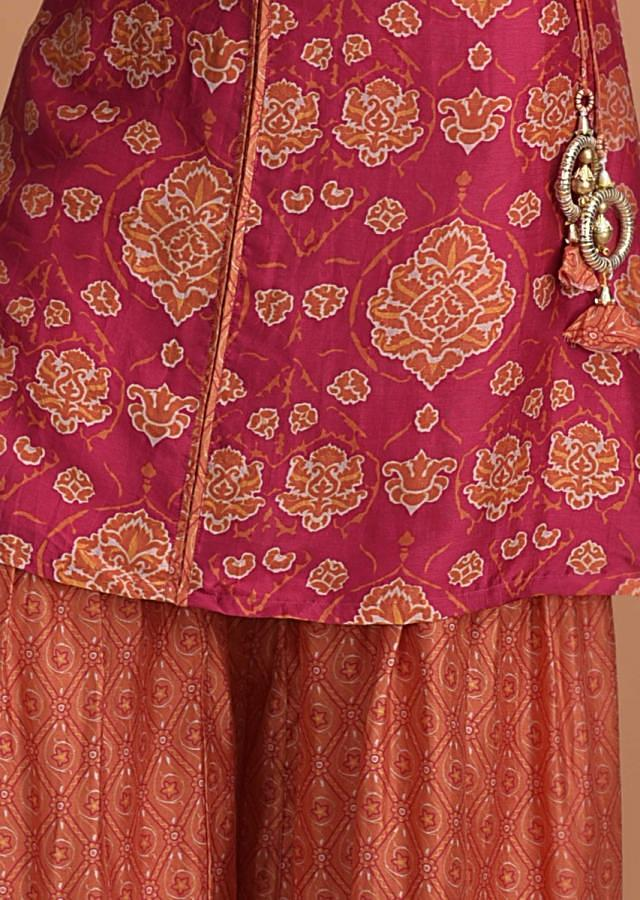Rani Pink Kurti With Orange Heritage Print And Orange Sharara Bottoms Online - Kalki Fashion