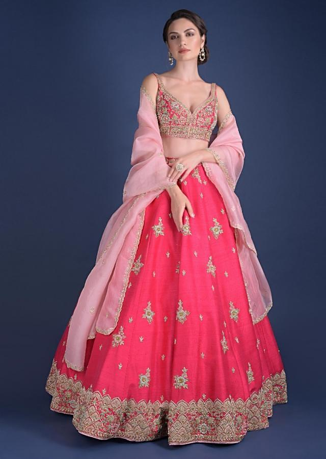 Fuschia Rose Lehenga Choli With Hand Embroidered Buttis In Embossed Embroidery Online - Kalki Fashion