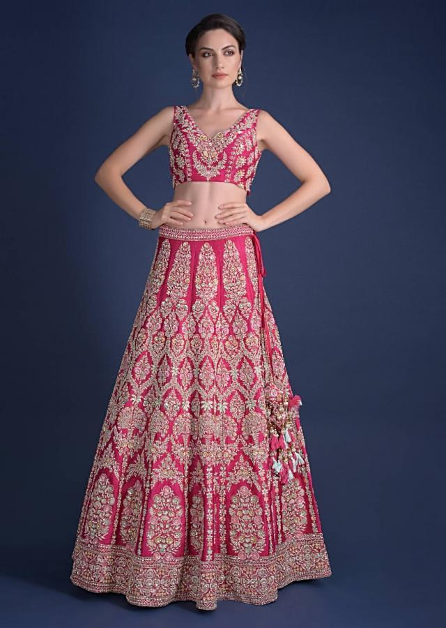 Rani Pink Lehenga Choli With Hand Embroidered Moroccan And Floral Motifs Online - Kalki Fashion
