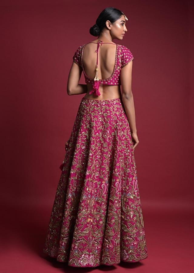 Rani Pink Lehenga In Raw Silk With Embroidered Floral Heritage Pattern Online - Kalki Fashion