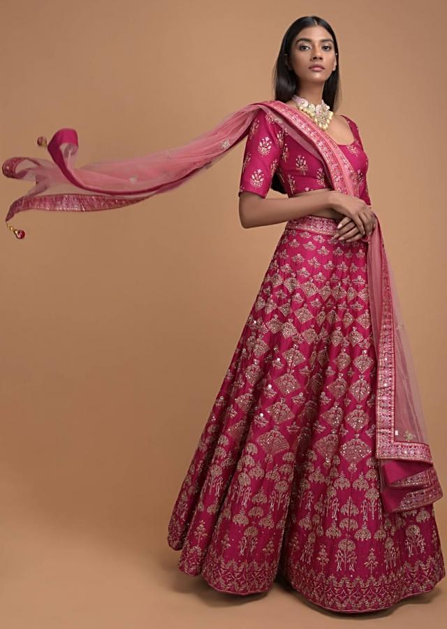 Rani Pink Lehenga With Foil Printed Buttis And Chandelier Motifs Online - Kalki Fashion