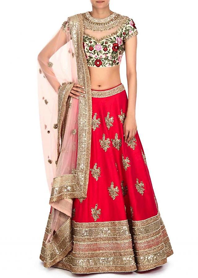 Rani Pink Lehenga With Resham Embroidered Blouse Online - Kalki Fashion