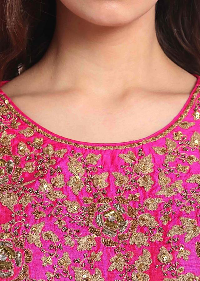 Rani pink palazzo suit with embroidered neckline only on Kalki