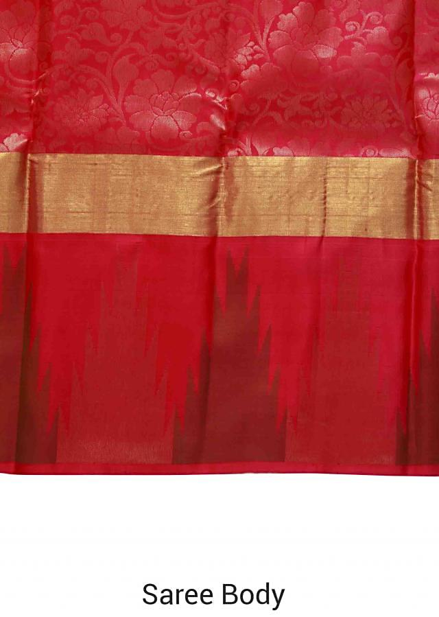 Rani pink saree features with temple border only on Kalki