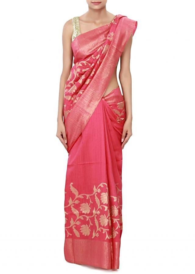 Rani pink saree featuring in weave embroidery only on Kalki