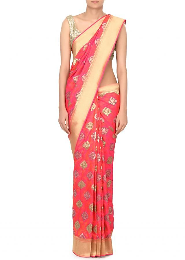 Rani pink saree in brocade silk only on Kalki